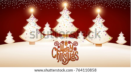 Merry Christmas Cute Design with Gingerbread Glazed Shining Christmas Trees, Candy Lettering and Snow. Vector illustration
