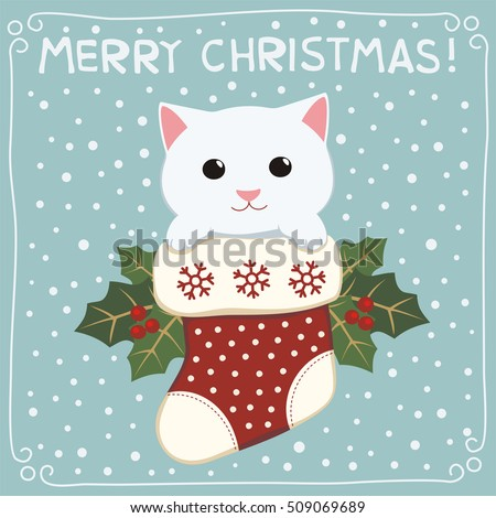 merry christmas cute kitten