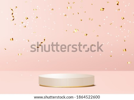 merry christmas 3d and happy new year 2021 rendered scene 3d with valentine podium platform. Christmas ribbon on pink background 3d render gold podium. happy new year stand to show product christmas