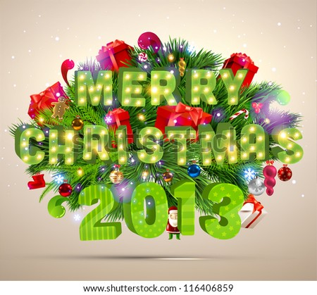 Merry Christmas 2013 3d Vector Letters For Xmas Design Set Of Holiday Elements Balls Gifts