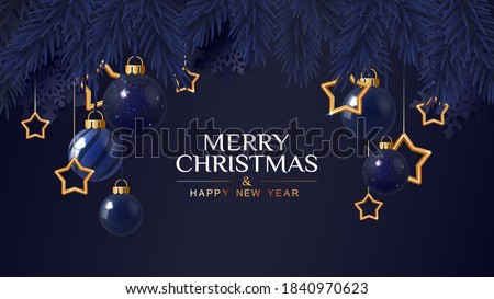 Merry Christmas dark blue banner  with golden stars. Christmas card. Vector Illustration.