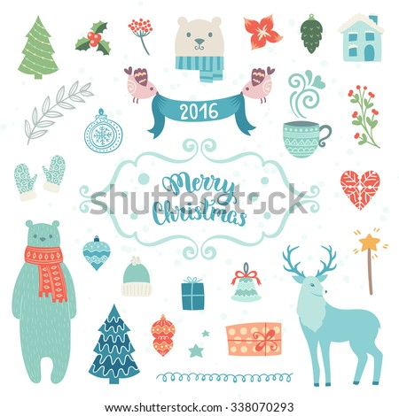 Merry Christmas decoration collection. Vector illustration, isolated decorative elements and lettering.