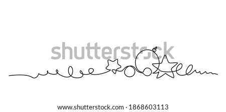 Merry Christmas decoration. Continuous one line art. Holiday greeting card Christmas ball, star and tinsel. Vector illustration