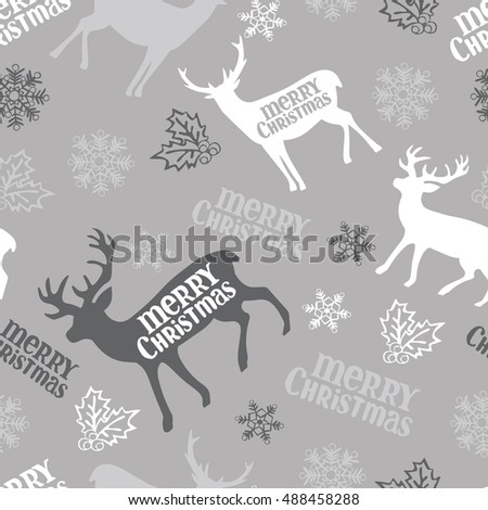 Merry Christmas. Deer. Snowflakes. Seamless vector pattern (background).