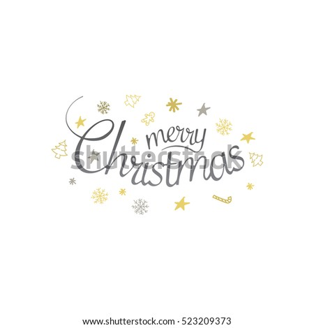 Merry Christmas design greeting card with festive season pattern - simply flat vector illustration eps 10.