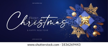 Merry Christmas design template with fir tree branch garland, glossy golden balls, elegant gold snowflakes and lettering.