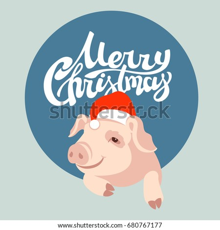 merry christmas design with pig