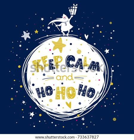 Merry Christmas doodle greeting card with Santa Claus and cheerful text in vector. Circle composition. Cute cartoon holiday poster. Works well as banner, sticker, print. Keep calm and ho-ho-ho