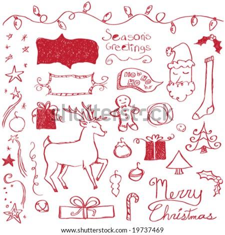 Merry Christmas Doodles - stock vector