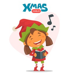 Merry Christmas elf. Vector illustration on the theme of Christmas