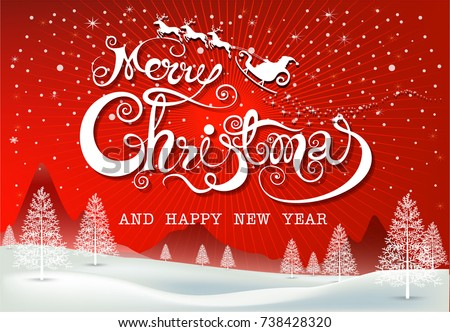 merry christmas everyone greeting card vintage background with red sky and snow merry christmas merry christmas and happy new year