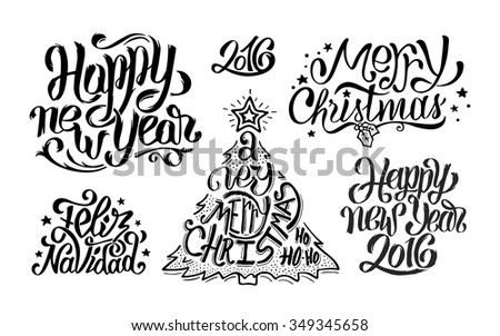 merry christmas feliz navidad and happy new year typography text greetings collection for print or