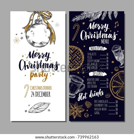 Merry Christmas festive Winter Menu on Chalkboard and Invitation card. Design template includes different Vector hand drawn illustrations and Brushpen Modern Calligraphy.