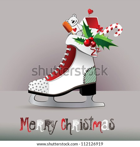 Merry Christmas  figure skates - stock vector
