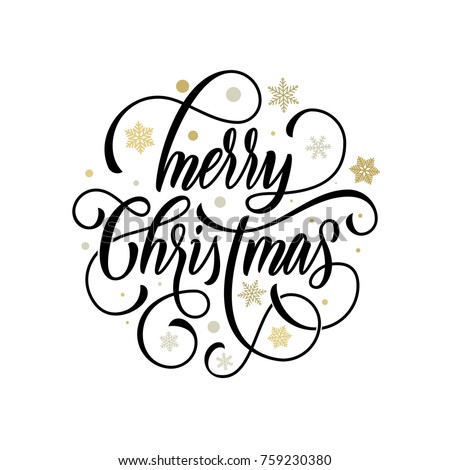 Merry Christmas flourish hand drawn calligraphy lettering on golden snowflake ornament pattern background. Vector swash line typography for greeting card design of festive quote Christmas Holiday text #759230380