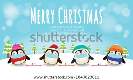 Merry Christmas for new normal lifestyle concept and social distancing, cute of penguin with surgical mask protect coronavirus covid-19 in snow scene winter banner, Xmas holiday party concept vector
