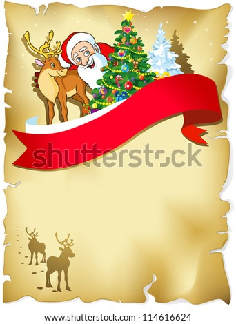 merry christmas frame with santa, reindeer, snow and romantic silhouette in snowy landscape on old paper
