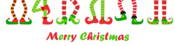 Merry Christmas funny background or banner wit elves feet set in different poses, vector illustration. Collection of cute elf legs, boots.  Santa helpers shoes and pants. Isolated on white background