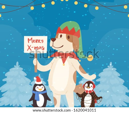Merry christmas funny dog and penguins in red santa hats in winter forest, garlands cartoon vector illustration. Christmas animals characters for poster, greeting, postcard or greeting card.