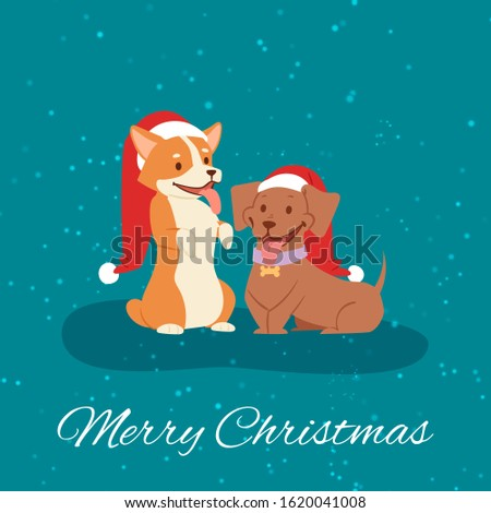 Merry christmas funny dogs in red santa hats on winter snow background cartoon vector illustration. Christmas dogs animals characters for poster, greeting, postcard or greeting card.