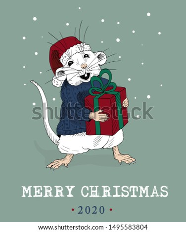 merry christmas funny mouse
