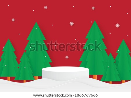merry christmas geometry shape podium with christmas tree. paper cut card red background. product stand presentation with minimal style.