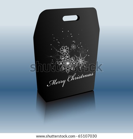 Merry Christmas gift bag. Vector illustration