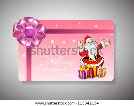 Merry Christmas gift card or greeting card. EPS 10.