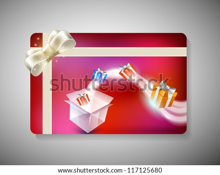 Merry Christmas gift card with gift boxes and ribbon. EPS 10.