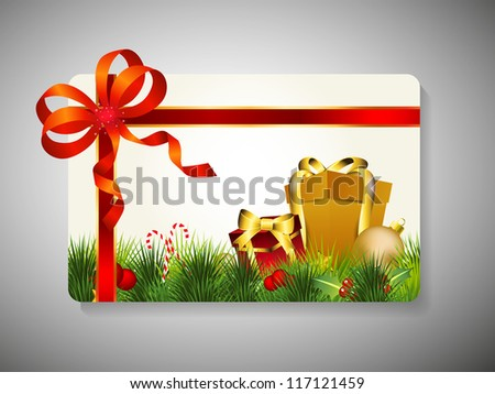 Merry Christmas gift card with gift boxes, grass and red ribbon. EPS 10.