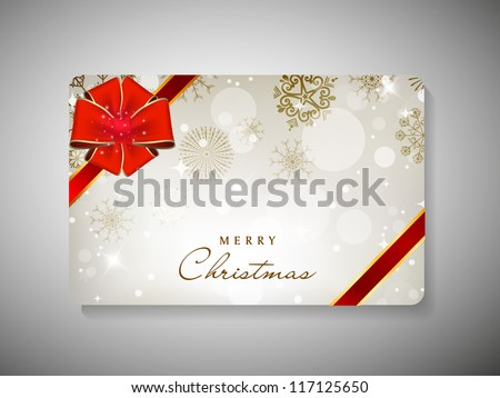 Merry Christmas gift card with red ribbon. EPS 10.