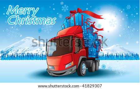 merry christmas gifts on a truck