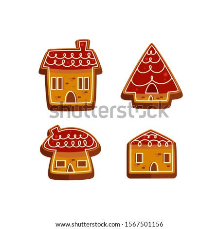 Merry Christmas gingerbread decorated cookies house collection vector illustration Collection