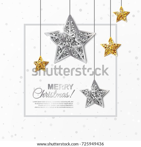 Stock Photo Merry Christmas glowing banner with Hanging Gold and Silver Stars on white background. Vector illustration. All isolated and layered