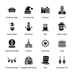 Merry Christmas Glyph Icons - Solid, Vectors