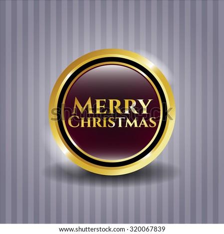 Merry Christmas gold badge or emblem
