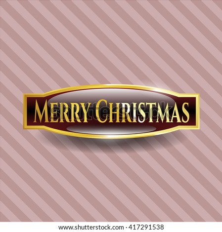 Merry Christmas gold emblem