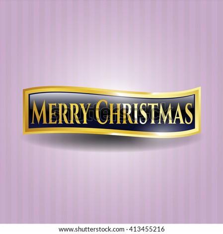 Merry Christmas gold emblem or badge