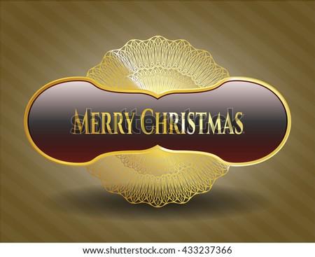 Merry Christmas gold shiny badge