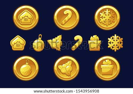 Merry Christmas golden coins. Happy New Year coin. Vector gold icons for Assets 2D game. Objects on a separate layer.