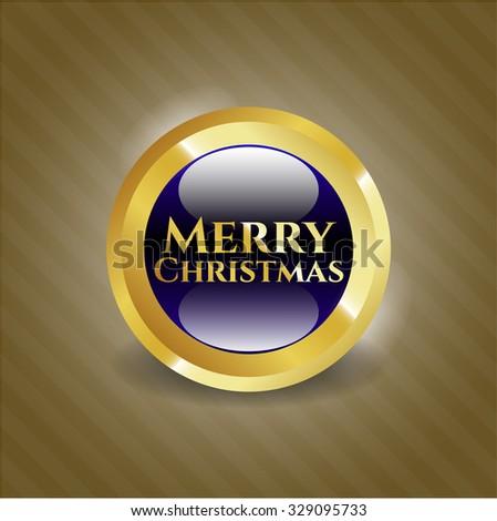 Merry Christmas golden emblem