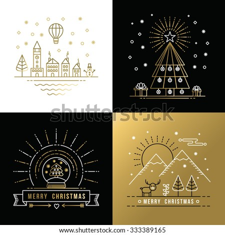 Merry Christmas golden outline label set with winter city, xmas tree, snow globe, and reindeer elements. Ideal for holiday invitation or greeting card. EPS10 vector.