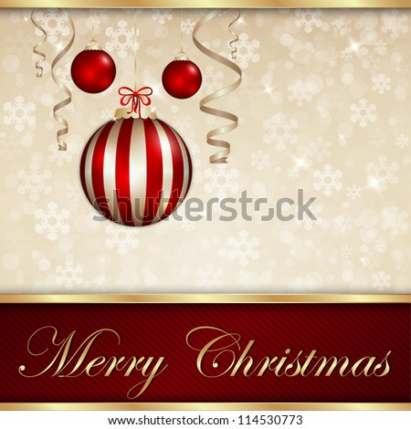Merry Christmas Golden Shiny Card - stock vector