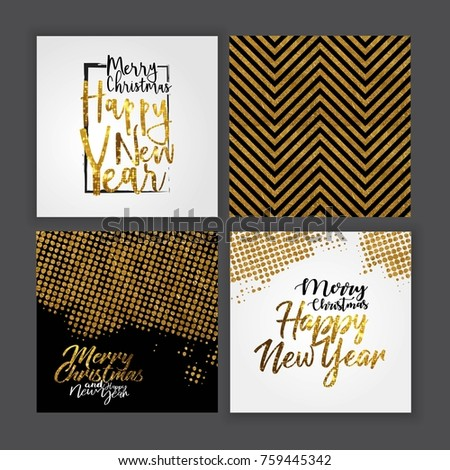 merry christmas golden template, glitter hand lettering, card set, vector illustration #759445342