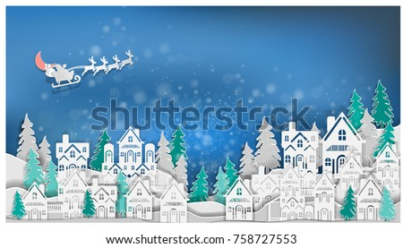 Merry Christmas .graphic red green background .paper cut art style Vector EPS 10