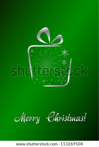 Merry Christmas green card with  silver gift Vector