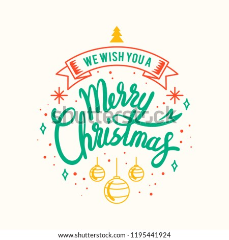 Merry Christmas greeting badge vector