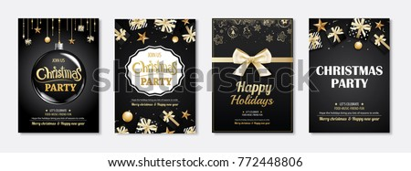 Merry christmas greeting card and party invitations on black background. Vector illustration element for happy new year flyer brochure design. #772448806