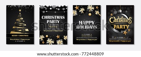 Merry christmas greeting card and party invitations on black background. Vector illustration element for happy new year flyer brochure design. #772448809