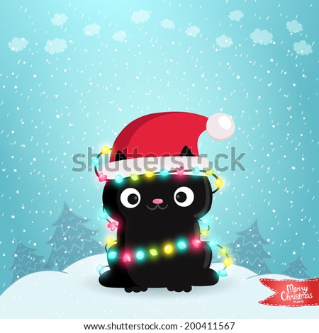 Merry Christmas greeting card background with a black cat Holiday vector illustration